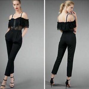 Express Cutaway Lace Ruffle Black Jumpsuit Size 10